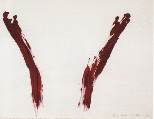 Ana Mendieta, Body Tracks (Rastros Corporales), 1982, blood and tempera on paper
