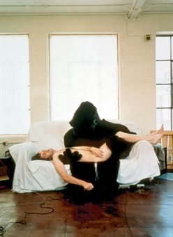 Angus Fairhurst, Pieta, 1996, color coupler print, 248 x 83 cm