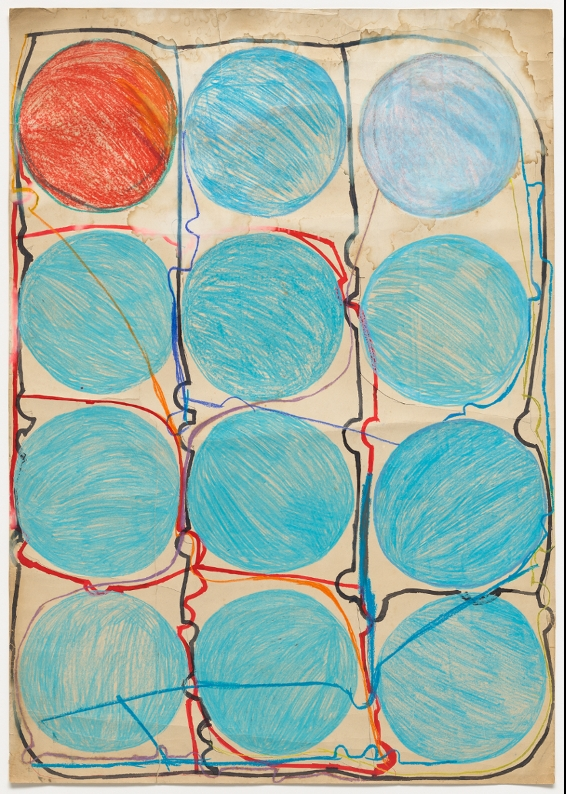 Atsuko Tanaka,  Untitled, 1956, watercolor and felt-tip pen on paper, 108.9 x 77.2 cm.