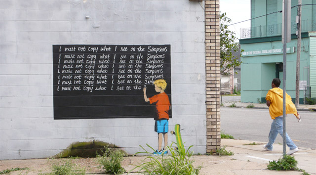 Banksy, I must not copy what I see on the Simpsons, 2008, New Orleans