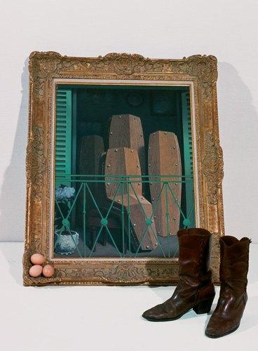 Braco Dimitrijević, Triptychos Post Historicus, 1978, Color photograph, 160 x 120 cm, Musée des Beaux-Arts, Ghent, I. Manets Balcony, Rene Magritte, 1950, II. Veljko Barbieris boots, 1976-77, III. Eggs