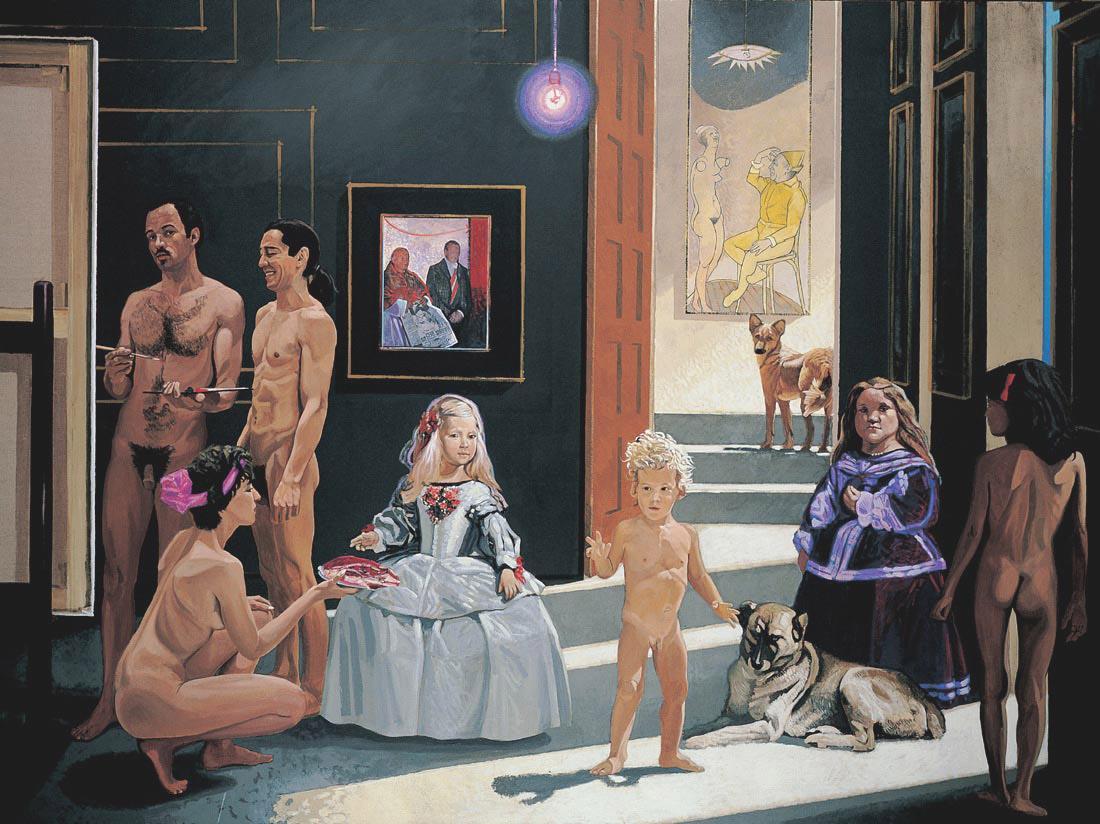 Herman Braun-Vega, double éclairage sur Occident (Velazquez et Picasso), 1987