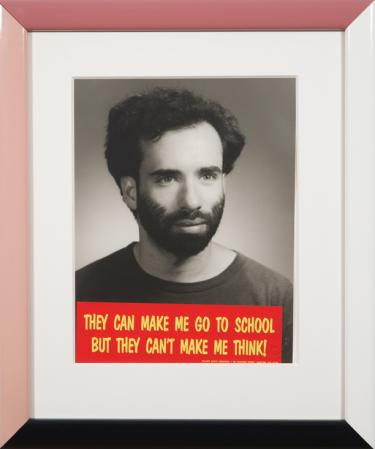 Cary Leibowitz, Bumper Sticker Self-Portrait (They Can Make Me Got to School but They...), 1990, collage, 22 x 18 in.