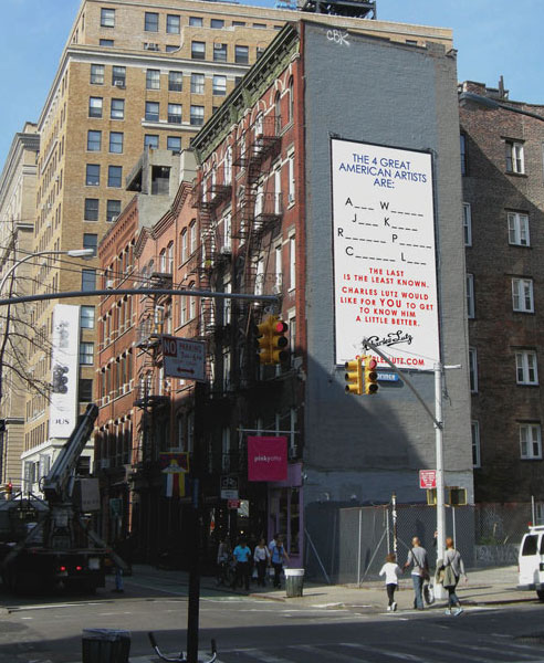 Charles Lutz, What Makes an Icon?, 2010. 49 Prince Street & Mulberry Street, New York. 29x15 feet, UV inks on vinyl