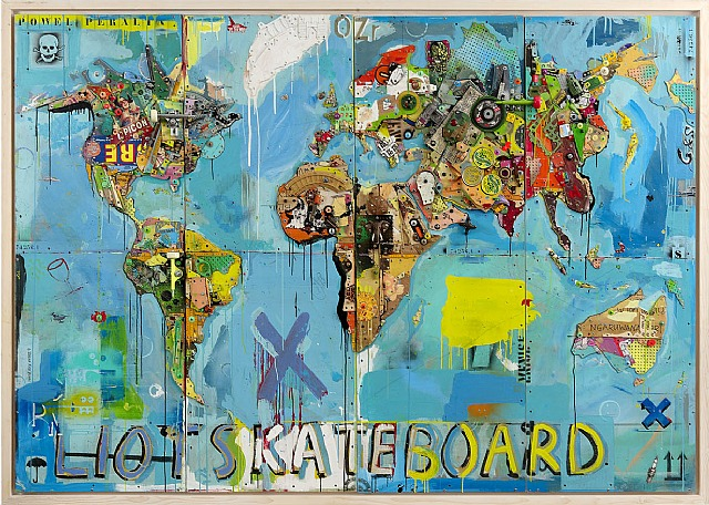 Eric Liot, Skateboard map, c. 2010, mixed Media, assemblage, 194 x 280 cm