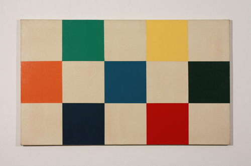 Erik Saxon, Untitled, 1973, commercial Varathane paint and Rhoplex on canvas, 24x40 inches