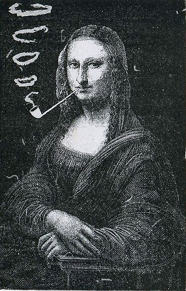 Eugène Bataille (Sapeck), Mona Lisa with a Pipe, 1887, photo-relief illustration for Le Rire by Coquelin Cadet