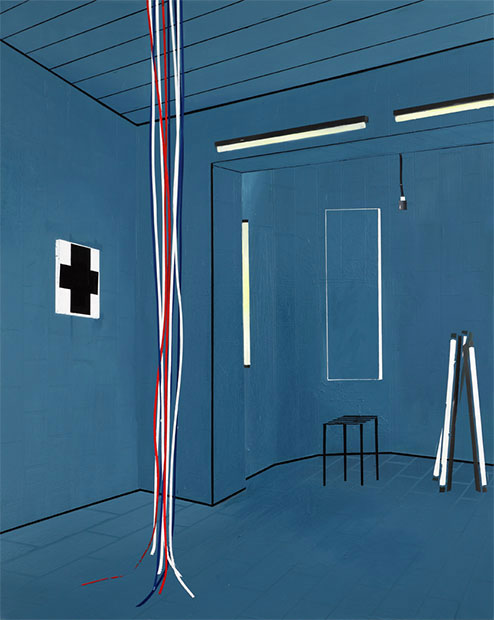 Farah Atassi, Bathroom II, 2010, glycero and oil on canvas, 200x160cm