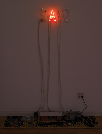 Hugh Brown, Bruce Nauman (Was/Saw, 1970), 2008. Neon, glass tubing, wood, chainsaw parts, transformer, wire, 67x57x15inches