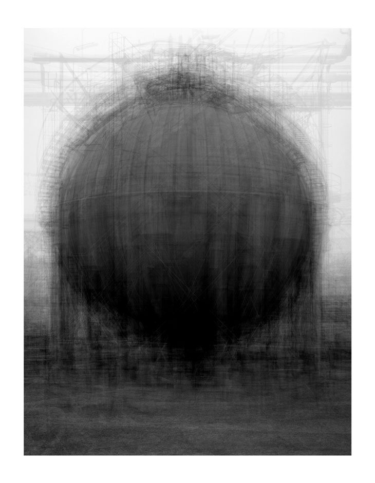 Idris Khan, Every... Bernd and Hilla Becher Spherical type Gasholders, 2004