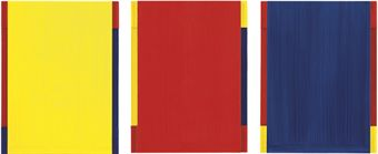 Imi Knoebel, Düsseldorf-Milano XII, 2002, acrylic on aluminium construction, in three parts, 34 x 26 x 3 cm