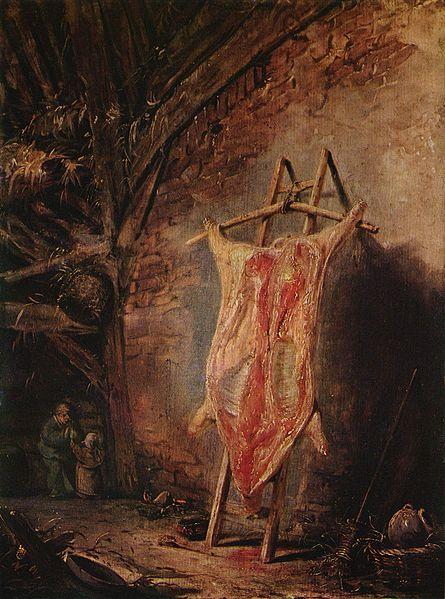 Boeufs écorchés (crucifixions détournées) IsaacvanOstade,DasgespalteteSchwein,c.1640-1645