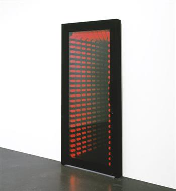 Ivan Navarro, Red Holeway, 2005, red incandescent light bulbs, aluminum door with mirrors and glass, transformer, power adapter., 218.4 x 101.6 x 20.3 cm