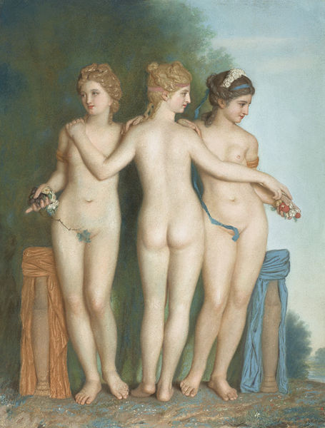 Jean-Étienne Liotard, The Three Graces, 1737, pastel on parchment, 59.4 x 45.4 cm