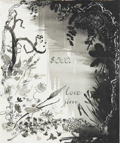 Jim Hodges, Untitled, 1995, ink, ink wash and decal on paper, 28.6 x 23.8 cm