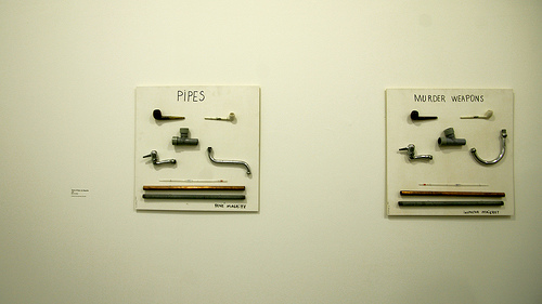 Jimmie Durham, Types de Pipes, by Magritte, 1993 - Types of Murder Weapons, by Maigret, 1993