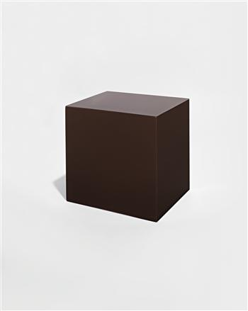 John McCracken, Untitled (Brown Block), 1970, polyester resin, fiberglass, and plywood., 25.4 x 26.7 x 21.6 cm