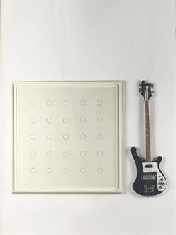 John Armleder, Untitled, 1987, ink and acrylic on canvas and a Rickenbacker bass guitar, 98x99cm and 112x34.5cm (the bass guitar)