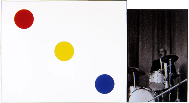 John Baldessari, Drummer (With Choices), 1990, b&w photo with vinyl paint, 122x226cm