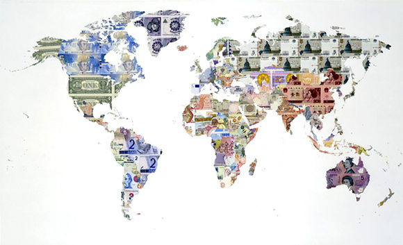 Justine Smith, Money Map of the World, 2005, banknotes on paper, 136 x 82 cm