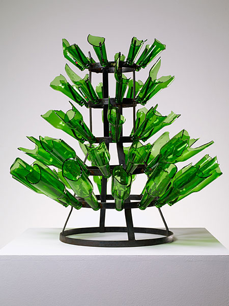 Kendell Geers,, Rack, 2009, Metal and beer bottles, 71 x 74 cm diameter