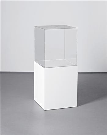 Kris Martin, Thank You, 2009, plexiglas box and wood plinth, 106 x 46.5 x 46.5 cm
