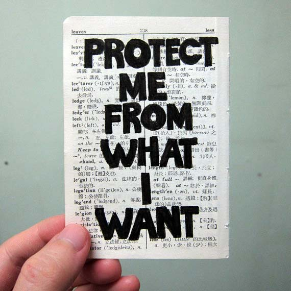 Lam Hoi Sin, Jenny Holzer Tiny (Protect Me From What I Want), 2010, original drawing on vintage dictionary, beige dictionary paper, approx 7cm x 10.2 cm