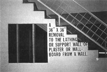 Lawrence Weiner, A 36 x 36 Removal to the Lathing or Support Wall of Plaster or Wallboard From a Wall, 1968