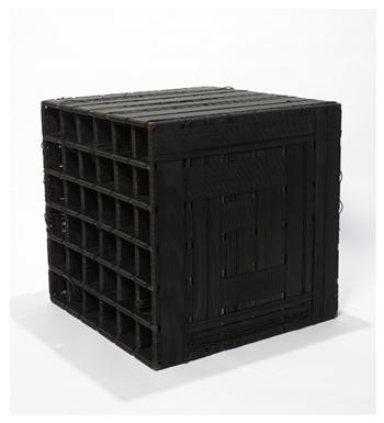 Liz Larner, 'Cube', 1989. Steel with gun bluing finish and neoprene cord, 61 x 58.4 x 61 cm