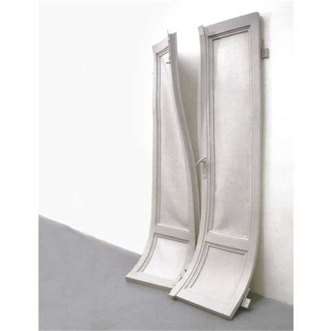Loris Cecchini, Stage evidence (Double soft door I), 2000, urethane rubber, 200 x 47.5 x 4 cm