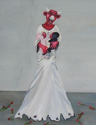 MH Vander Eecken, Je nourris (daprès Vanessa Beecroft), 2010, acrylique sur toile, 50x40cm