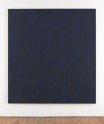 Marcia Hafif, Black Painting: Ultramarine Blue and Burnt Umber II, 1979-80, oil on canvas, 215x200cm