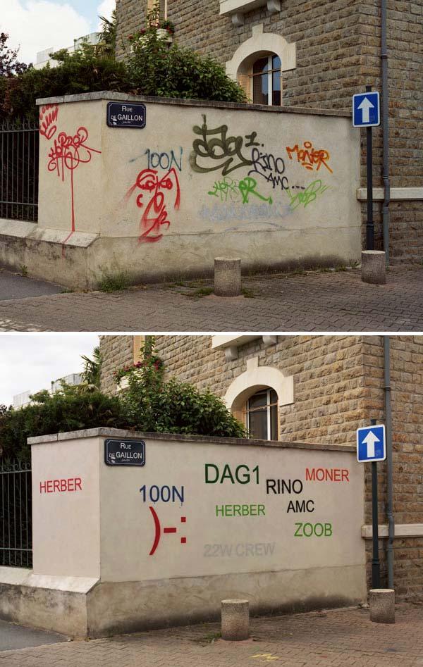 Mathieu Tremblin, Tag Coulds, 2010, spray paint, stencil, 500x200cm, Rennes