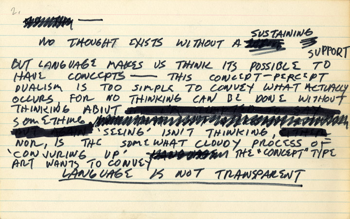 Mel Bochner, , Notecard (No thought exists...), 1969, ink on notecard, 5 x 8 in.