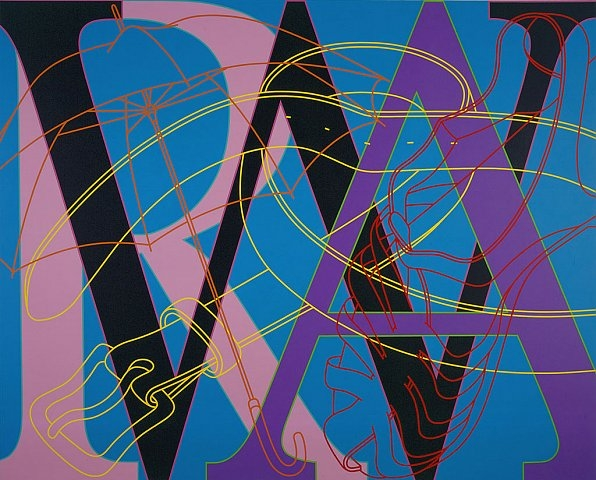 Michael Craig-Martin, Untitled (WAR), 2007, acrylic on aluminium, 200 x 250 cm