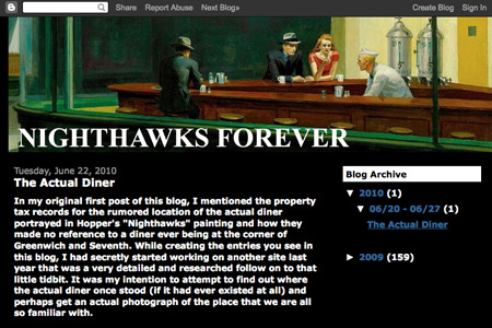 Nighthawks Forever @ blogspot, 2009