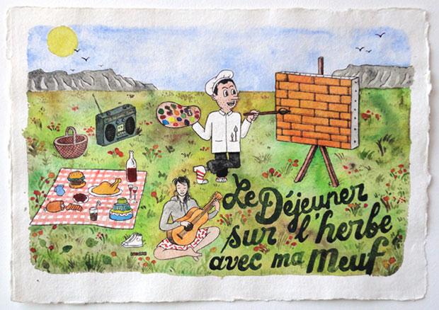 Pablo Cots, Le déjeuner sur lherbe avec ma meuf, 29,7x42cm