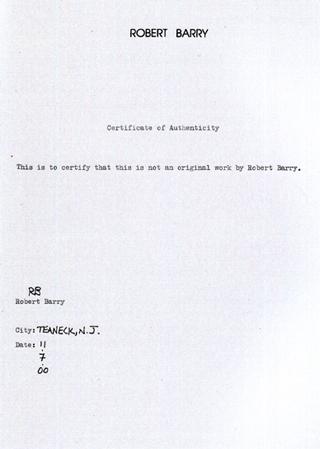 Pierre Bismuth, Certificat d