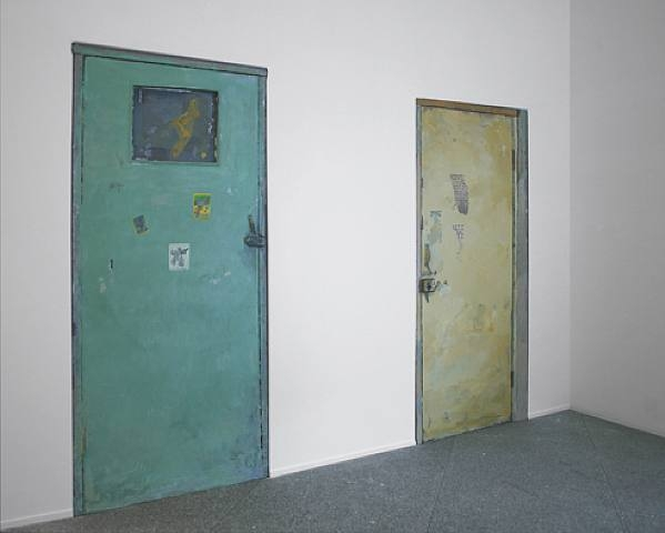 Qiu Xiaofei, Untitled (green door / window) and Untitled (yellow door), 2005-2007, installations, fibreglass, acrylic, 198 x 98 cm