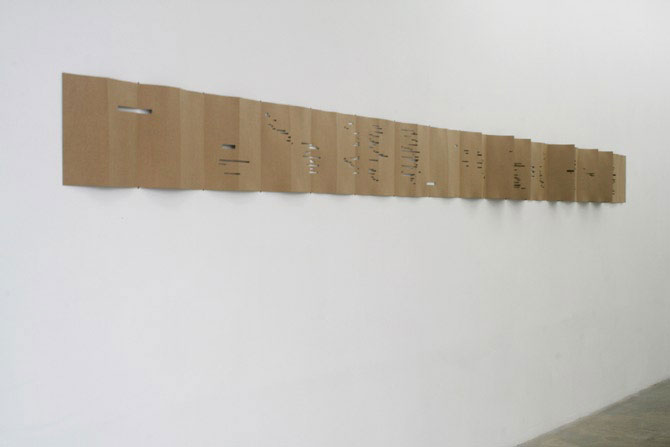 Rainier Lericolais, Carton perforé, 2009, perforate cardboard, variable dimensions, 35 sheets 32.5x16cm each