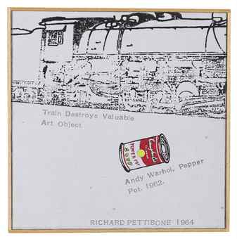 Richard Pettibone, Train Destroys Valuable Art Object; Andy Warhol, Campbells Soup Can (Pepper Pot), 1962, 1964, synthetic polymer, ink and silkscreen inks on canvas in artists frame, 15.8 x 15.8 cm