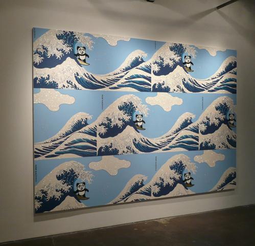 Rob Pruitt, Panda Pattern: Riding the Great Wave, 2010