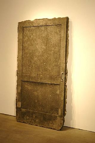 Robert Overby, Blue Screen Door Map, 1970-1971 , concrete and steel, 203.2 x 114.3 x 12.7 cm