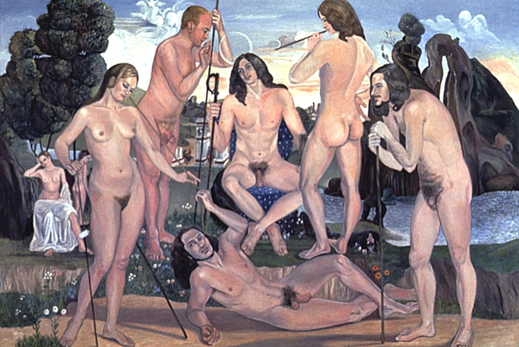 Sylvia Sleigh, The Court of Pan (after Luca Signorelli), 1973, oil on canvas