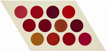 Thomas Downing, Red Twelve, 1965, acrylic on canvas, 142.9 x 294 cm