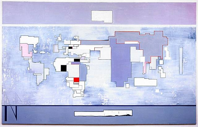Thomas Scheibitz, Map II, 2004, oil, pigment marker and pencil on canvas, 285 x 460 cm