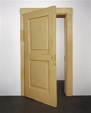 Urs Fischer, Not My House, Not My Fire, 2004, polyester resin, polyurethane resin, polystyrene, epoxy glue, acrylic paint, acrylic primer, steel hinges, screws, and wood glue, 323 x 186 x 56 cm