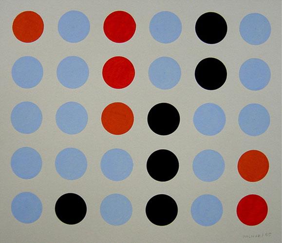 Vera Molnar, Lent mouvement bleu, orange, rouge et noir, 1955, gouache sur carton, 30x37cm