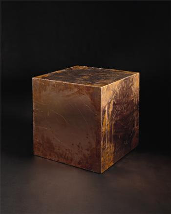 Walead Beshty, 20-inch Copper (FedEx® Large Kraft Box© 2005 FEDEX 330508) International Priority, Los Angeles–London trk#8685 8772 8040, date October 2–6, 2009. International Priority London–New York trk#863822956489, date November 18–20, 2009, International Priority New York–London trk#7952 0098 1790, date September 19–21, 2011, 2011, copper with accrued shipping and tracking labels., 50.8 x 50.8 x 50.8 cm