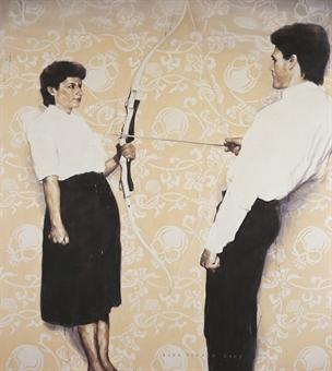 Agus Suwage, 'Rest energy (Homage to Marina and Ulay)', 2007, oil on canvas, 225 x 200 cm